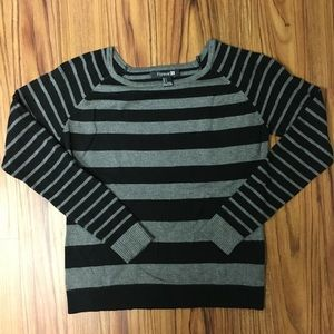 Forever 21 Grey and Black Striped Sweater sz S